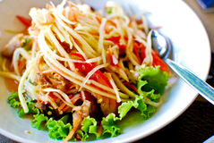 Thai style food , spicy papaya salad. Also know as  som tam Royalty Free Stock Image