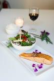 Thai style food, steak salmon with Thai salad. Royalty Free Stock Photo