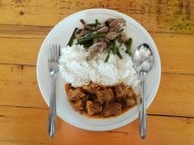 Thai style food, two-entree plate. 2-Entree Plate Royalty Free Stock Photos