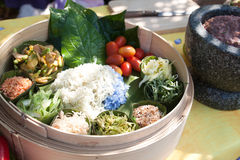 Thai style foods in wooden bowl Stock Photos