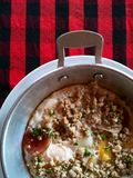 Thai style fried egg food. Thai style fried egg with mince pork food in pan for breakfast Royalty Free Stock Photos