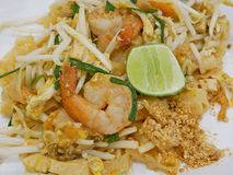 Thai style fried noodle with shrimps Pad Thai Goong Sod royalty free stock photography