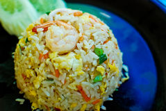 Thai style fried rice. With shrimp and squid royalty free stock photos
