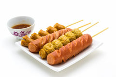 Thai style fried sausage sticks . Stock Images