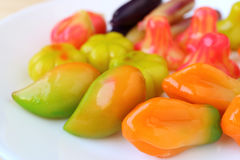 Thai Style Fruits Shaped Marzipan, Traditional Dessert Called Kanom-Look-Choup Stock Photography