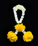 Thai style garland. Isolated on black royalty free stock photos