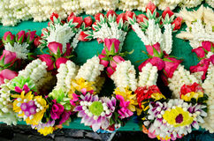 Thai style garland. At flower market in Thailand Royalty Free Stock Photography