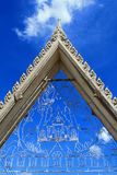 Thai style gate in temple and blue sky Royalty Free Stock Photos