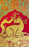 Thai style of goat pattern. On the wall at the temple of Thailand royalty free stock image