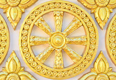 Thai style golden molding wheel of life pattern Stock Photo