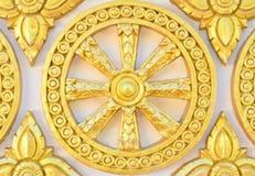 Thai style golden molding wheel of life pattern Stock Photo
