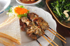 Grilled Beaf skewer Royalty Free Stock Images