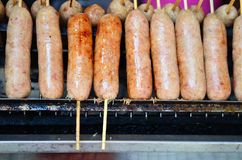 Thai Style Grilled Sausage on Street Market Royalty Free Stock Images
