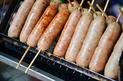Thai Style Grilled Sausage on Street Market Stock Photography