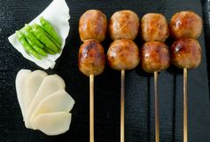 Thai Style Grilled Sausages on Bamboo Skewer Stock Photography