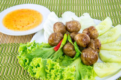 Thai style Grilled sausages in dish Stock Photo