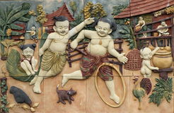 Thai style handcraft games of Thailand culture on wall Stock Images