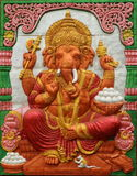 Thai style handcraft of ganesh hindu god on wall Royalty Free Stock Images