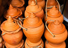 Thai style handmade clay pot. Stock Images