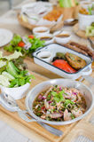 Thai style hot and spicy salmon salad royalty free stock image