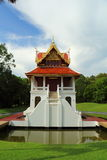 Thai style house in temple Royalty Free Stock Image