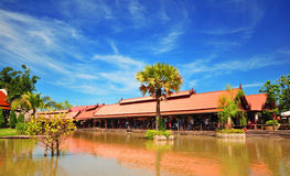 Thai style houses near river Royalty Free Stock Photography