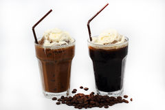 Thai style ice coffee topping with whipping cream Royalty Free Stock Image