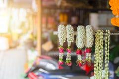 Thai style Jasmine Garland sell. In Thailand Stock Photos