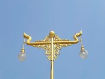 Thai style light pillar with blue sky Stock Photos