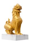 Thai style lion statue. Thai style lion statue over a white background Royalty Free Stock Photo