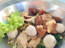 Thai style local pork noodle Royalty Free Stock Photos