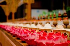 Thai style lotus candle in Thai temple, Thailand Stock Photos