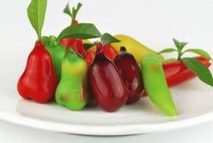 Thai style marzipan fruits. Thai dessert fruit-imitated soybean Royalty Free Stock Image