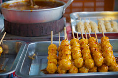 Thai style meat ball. With boiling sauce Stock Photos