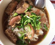 Thai style meat noodle soup, delicious of thaifood. Thai meat noodle soup, delicious of thaifood stock photography