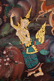 Thai style mural. Ancient thai painting on wall in thailand buddha temple stock image