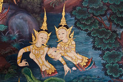 Thai style mural. Ancient thai painting on wall in thailand buddha temple royalty free stock images