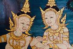 Thai style mural. Ancient thai painting on wall in thailand buddha temple royalty free stock photography