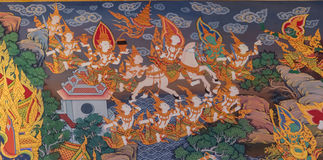 Thai Style Mural Painting :siddhartha gautama escape from castle. Bangkok, Thailand - October 2, 2014 : Painting in Thai style mural tell the story of Prince royalty free stock photos