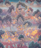 Thai Style Mural Painting in Wat Hongthong Chonburi, Thailand. Royalty Free Stock Photography