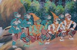 Thai Style Mural Painting in Wat Hongthong Chonburi, Thailand. Royalty Free Stock Image