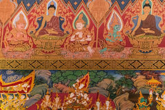 Thai Style Mural Painting in Wat Hualamphong Thailand Royalty Free Stock Images