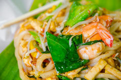 Thai style noodle on banana leaf stock images