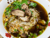 Thai style noodle with duck meat. Thai noodle with duck meat stock photo