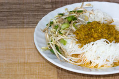 Thai style noodle eaten with curry Stock Image