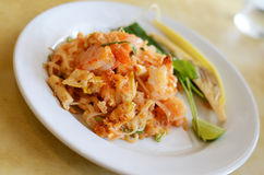 Thai style noodle with fresh shrimp Royalty Free Stock Photo