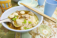 Thai style noodle with meatballs Royalty Free Stock Photo