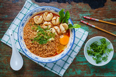 Thai style noodle, noodle tom yum kung with beef meatball Stock Images