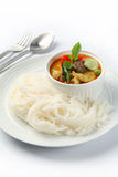 Thai style noodle with vegetable and curry Stock Photos