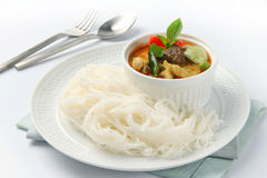 Thai style noodle with vegetable and curry Stock Photography